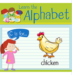 Flashcard letter C is for chicken vector image vector image