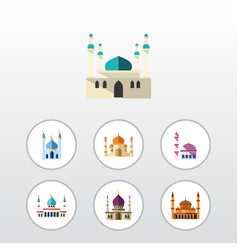 flat icon building set of building structure vector image vector image