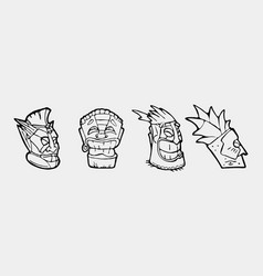 Hand drawn totem face symbol set vector