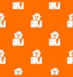 House after an earthquake pattern seamless vector