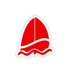 Icon sticker realistic design on paper sailing vector