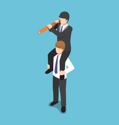 Isometric businessman ride on his colleague vector