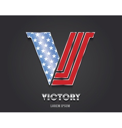 Letter V from alphabet in color of American flag vector image