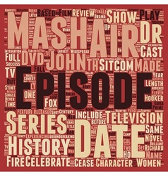 Mash DVD Review text background wordcloud concept vector image