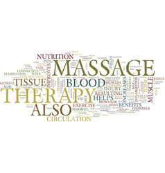 Massage therapy benefits text background word vector