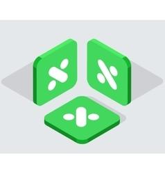 Modern 3 isometric app icons vector