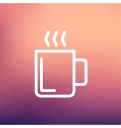 Mug of hot choco thin line icon vector image