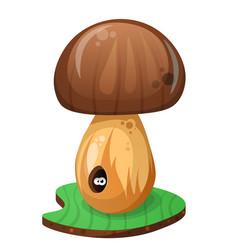 mushroom and cartoon worm vector image vector image