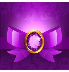 Purple ribbon and bow vector image vector image