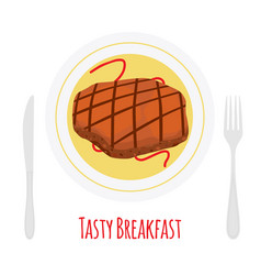 roasted steak beef pork for breakfastflat style vector image vector image