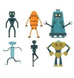 Robot set in flat style vector image vector image