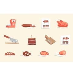 Sausage Hotdogs Meat Butcher Shop Retro Vintage vector image