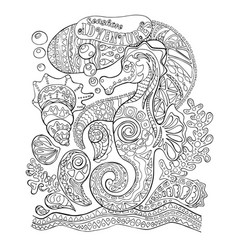 Seahorse and sea shells adult coloring page sea vector