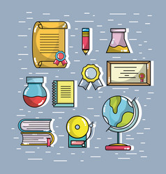 Set school tools that need the student to learn vector