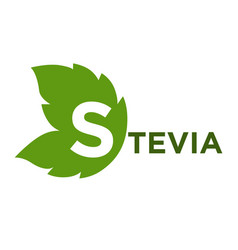 Stevia green leaf with inscription isolated on vector