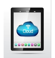 tablet cloud storage concept vector image vector image