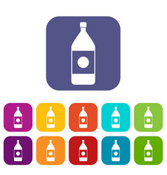 water bottle icons set flat vector image