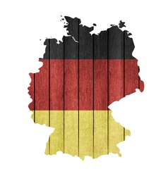 Wooden map and flag of germany vector