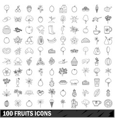 100 fruits icons set outline style vector