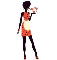 Waitress holding cocktails vector