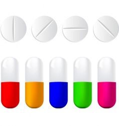Pills icon set vector