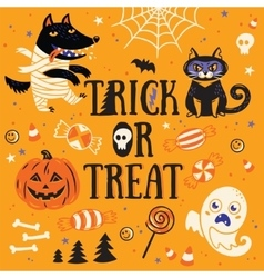 Greeting card for halloween trick or treat vector