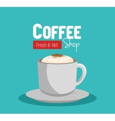 Cup coffee fresch and hot shop graphic vector