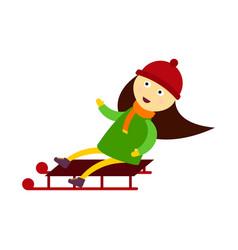 christmas kid playing winter games sledding girl vector image