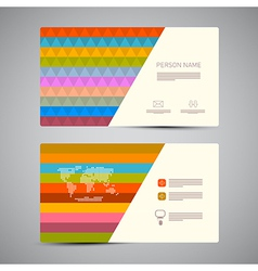 Retro paper business card template with colorful vector