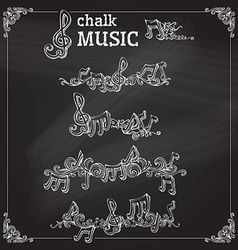 Set of chalk music page decorations vector