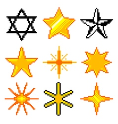 Pixel stars for games icons set vector