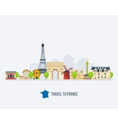 French landmarks eiffel tower notre dame in vector
