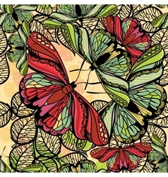 Seamless spring pattern butterflies and flowers vector