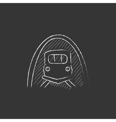 Railway tunnel drawn in chalk icon vector