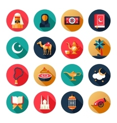Islamic culture icons set vector