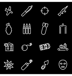 Line terrorism icon set vector