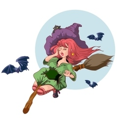 Beautiful witch woman flying on broomstick vector
