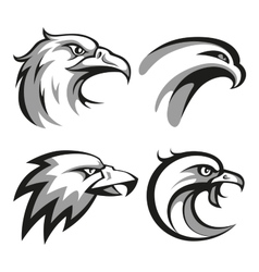 Black and grey eagle head logos set for business vector image vector image