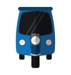 Blue motor rickshaw transport tricycle vector