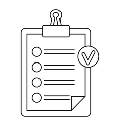 Check list on a clipboard icon outline style vector