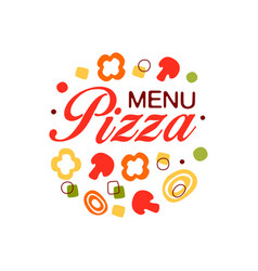 Colorful flat logo for pizza menu in circle shape vector
