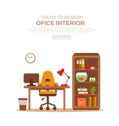 Colorful office desk with indoor plants vector