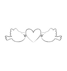 cute doves flying with heart vector image