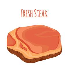 fresh steak pork slice of raw meat flat style vector image