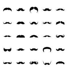Glyph icon design set of mustaches vector