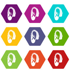 hearing aid icon set color hexahedron vector image