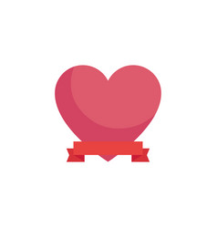 Heart with ribbon banner vector