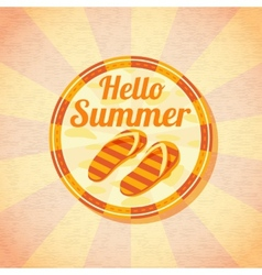 Hello summer retro background with beach slippers vector image vector image