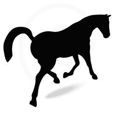 Horse silhouette in prancing walk pose vector