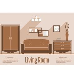 Living room interior flat design vector image vector image